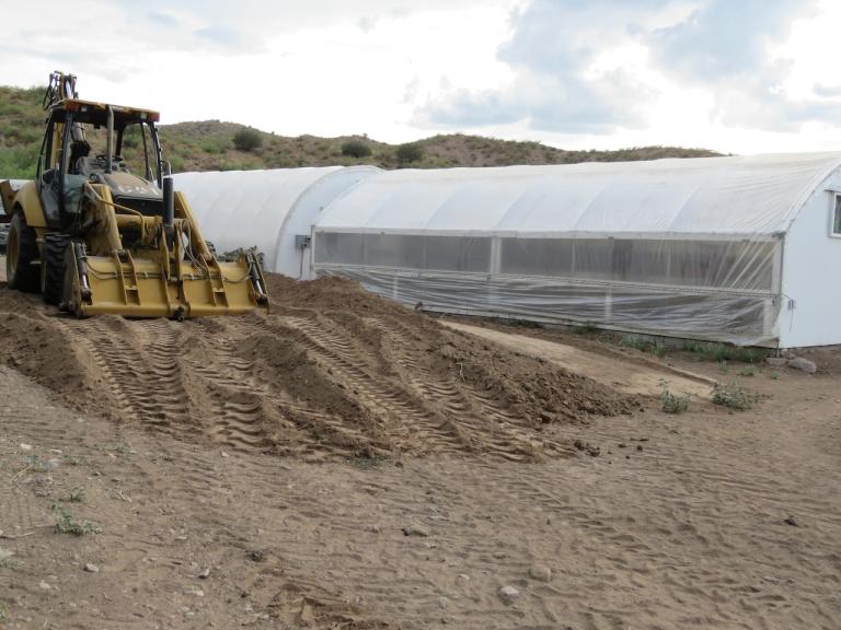 Bulldozer in greenhouse area